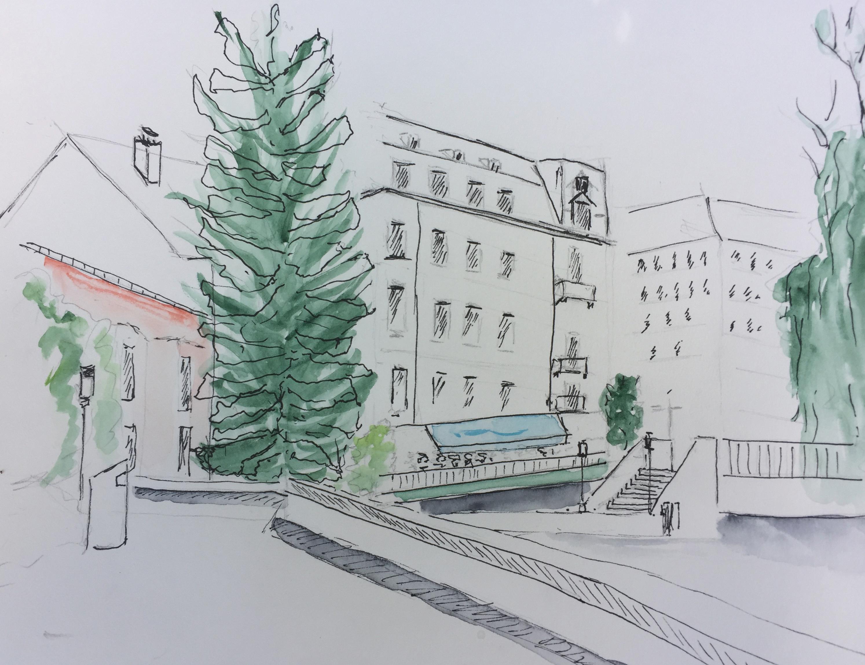 Teilnehmerin Urban Sketching,2017, Sicht Bärengasse_Schanzengraben
