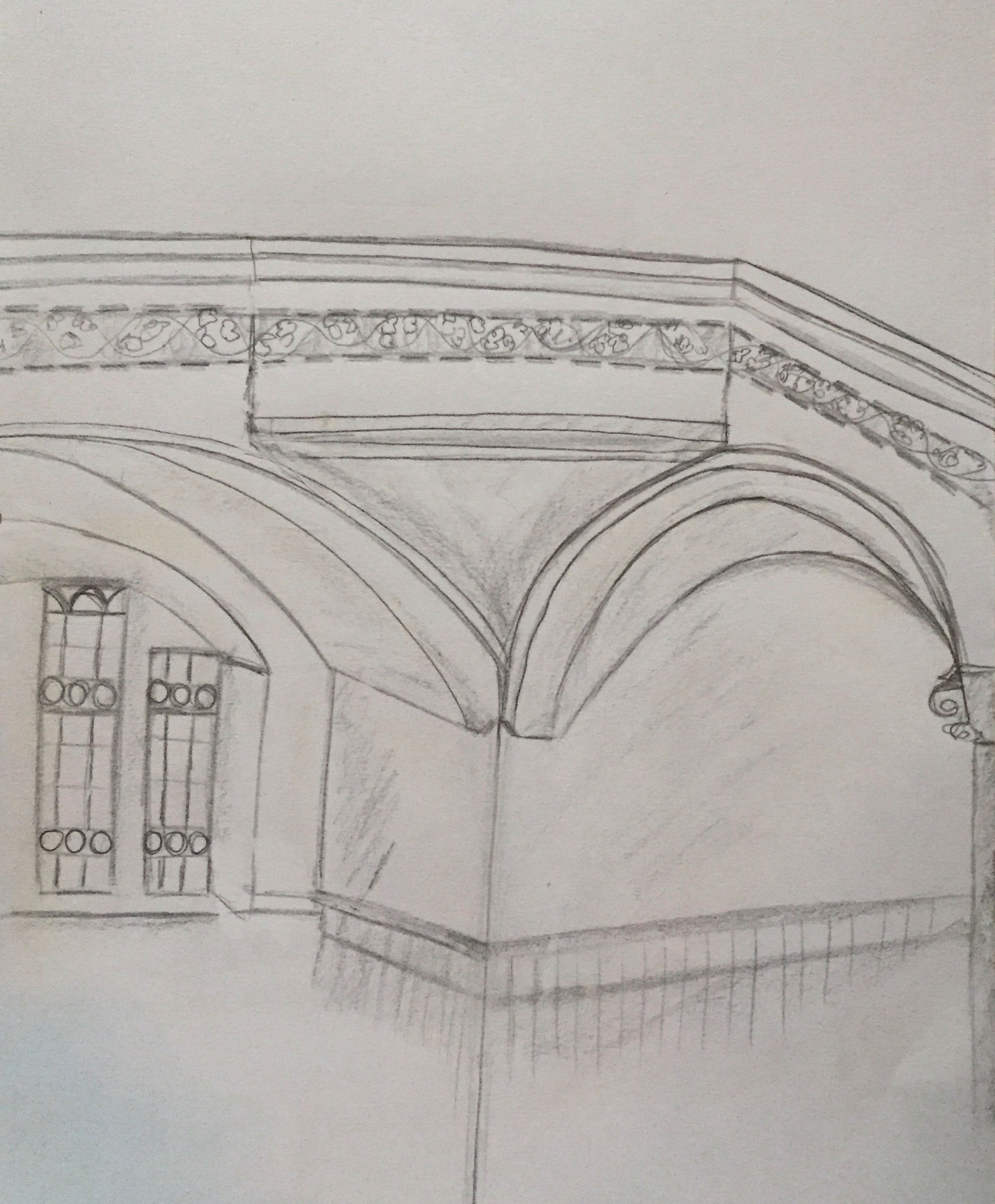 Säule St Jakob Ausschnitt, Kursteilnehmerin Urban Sketching, 2017