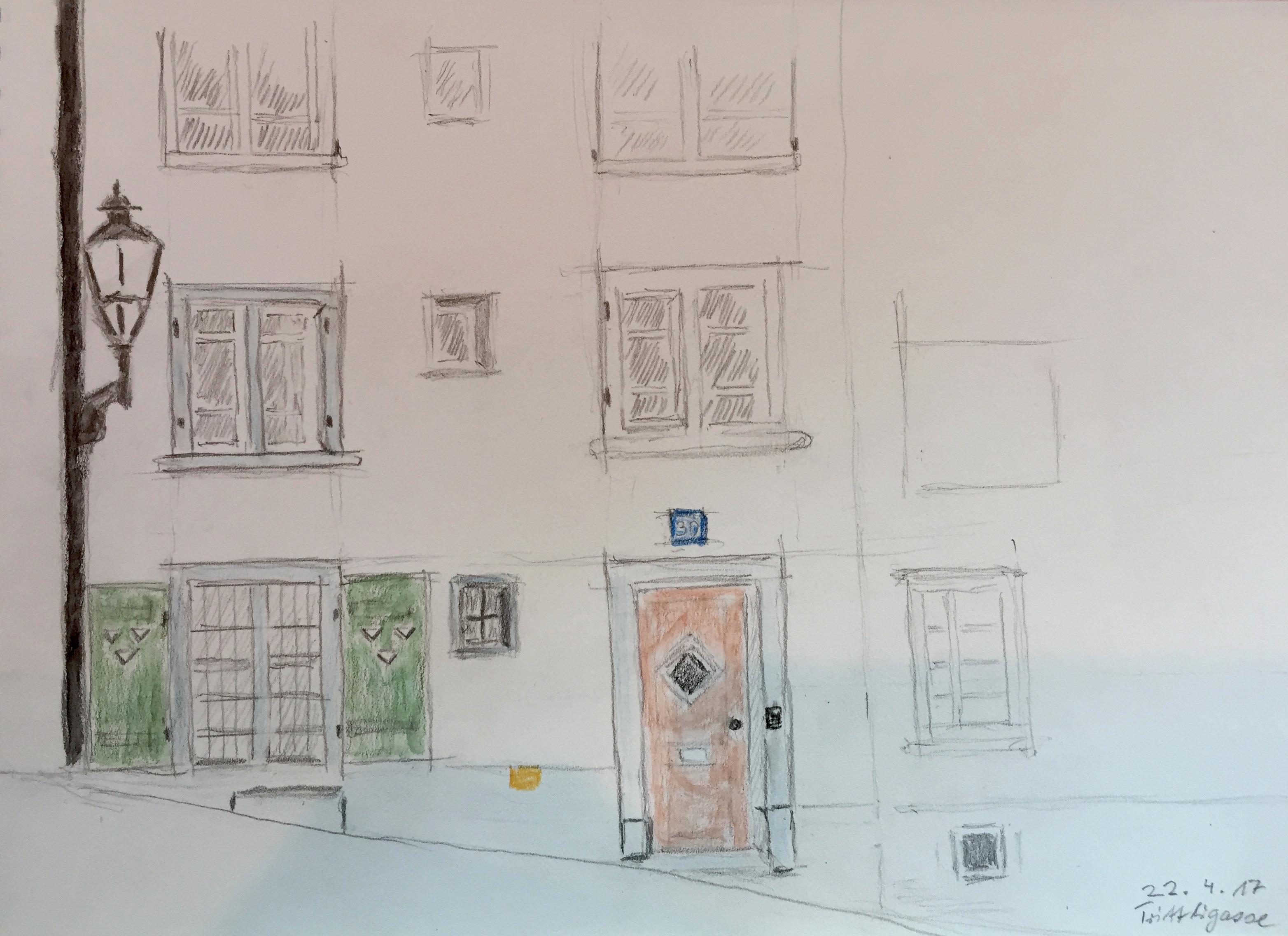 Urban Sketching, 2017, Bleistift_ Aquarellfarbe