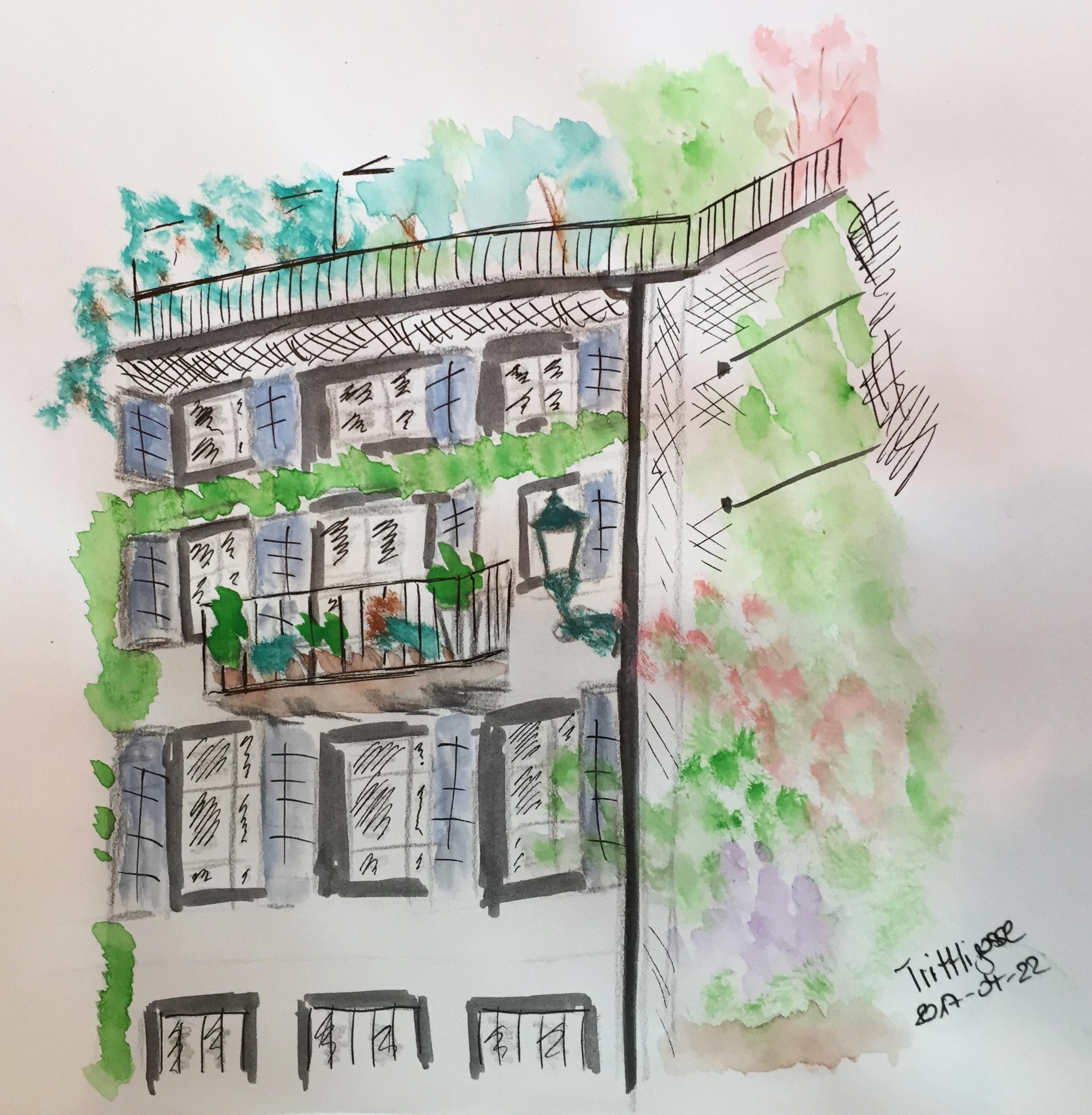 Trittligasse, Kursteilnehmerin Urban Sketching, 2017