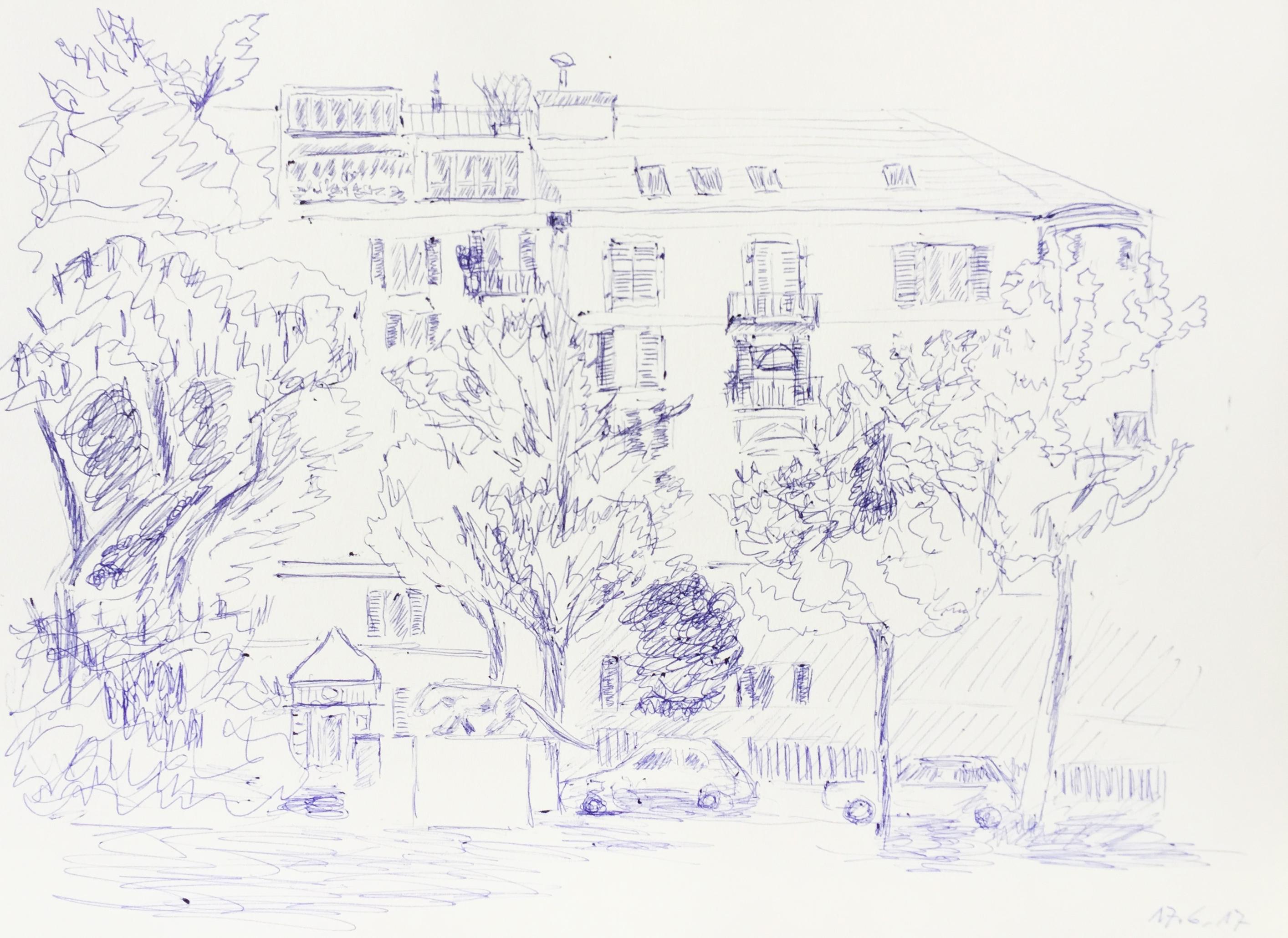 Bahnhof Tiefenbrunnen, Zürich, Neuer Kurs Urban Sketching,2017, Astrid Schmid Zeichnen in Zürich, Astrid Amadeo