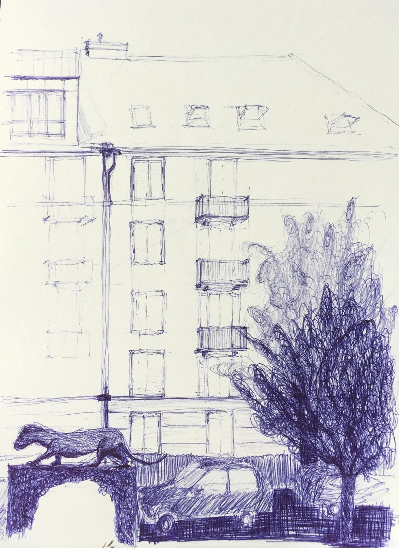 Seefeld/Tiefenbrunnen, Zürich, Neuer Kurs Urban Sketching,2017, Astrid Schmid Zeichnen in Zürich, Astrid Amadeo