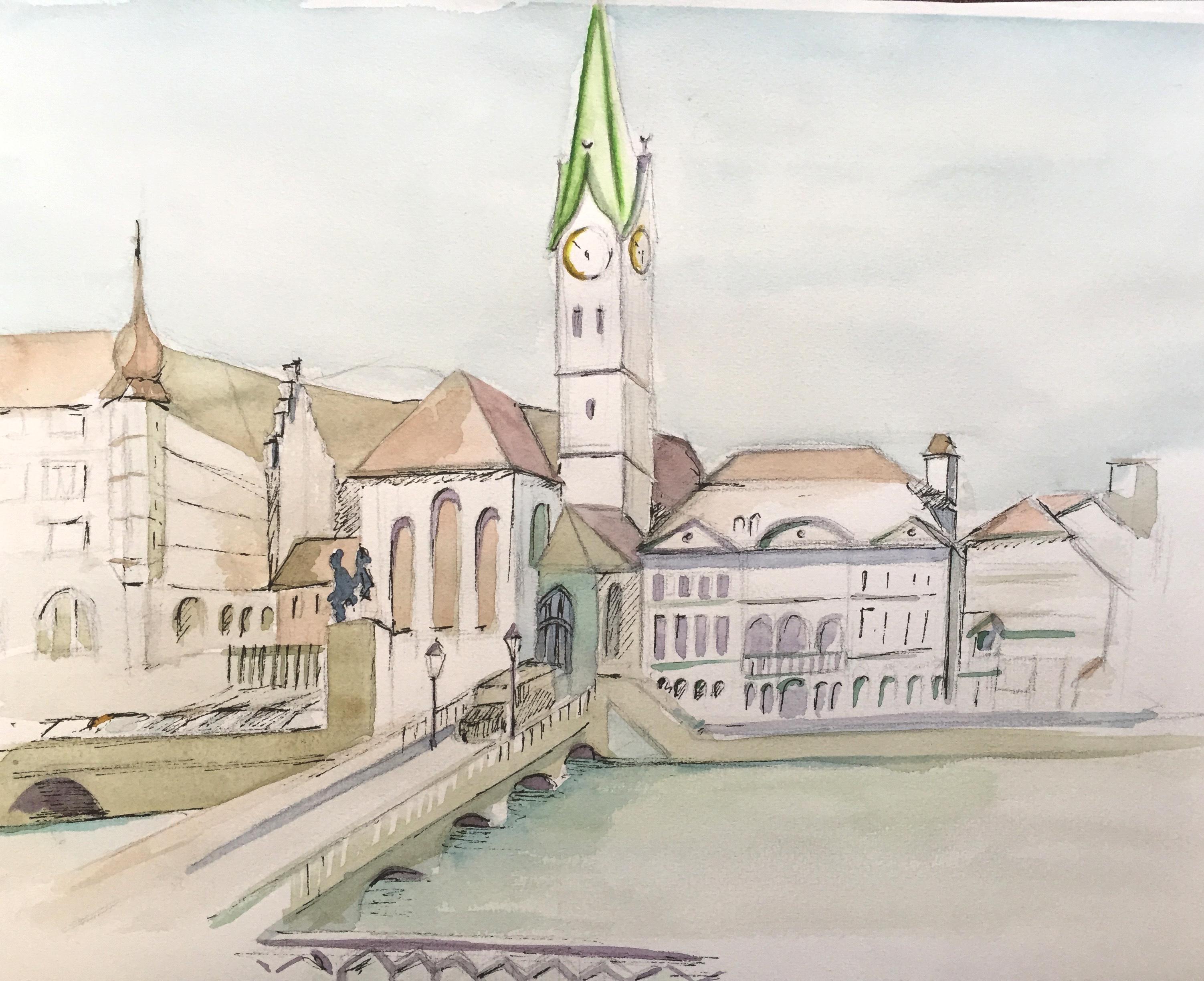 Fraumünster, Zürich, Aquarell, Tusche, Astrid Amadeo, Urban Sketching