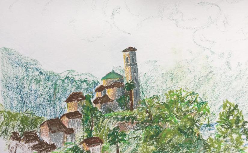 St. Abbondio Zeichnen am Lago Maggiore