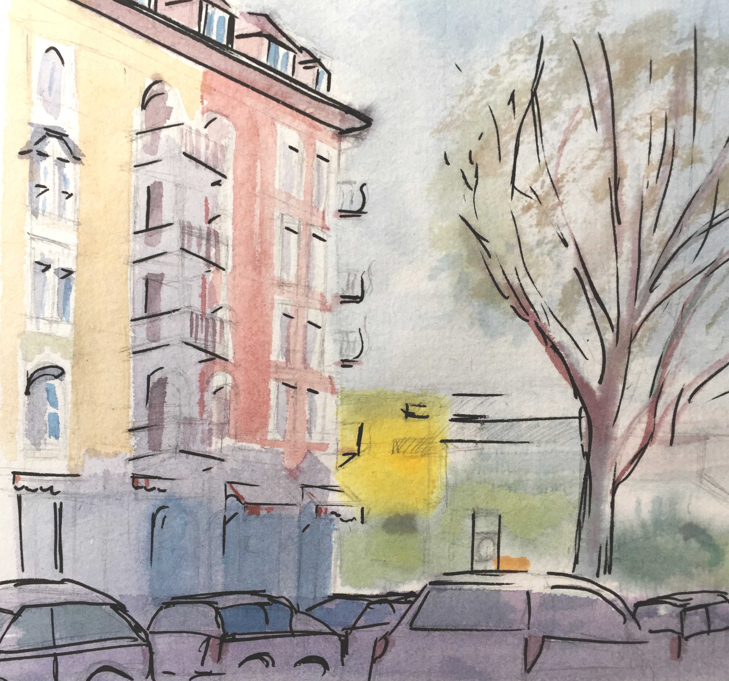 Schreinerstrasse, Zürich,Aquarell, Astrid Amadeo, Urban Sketching