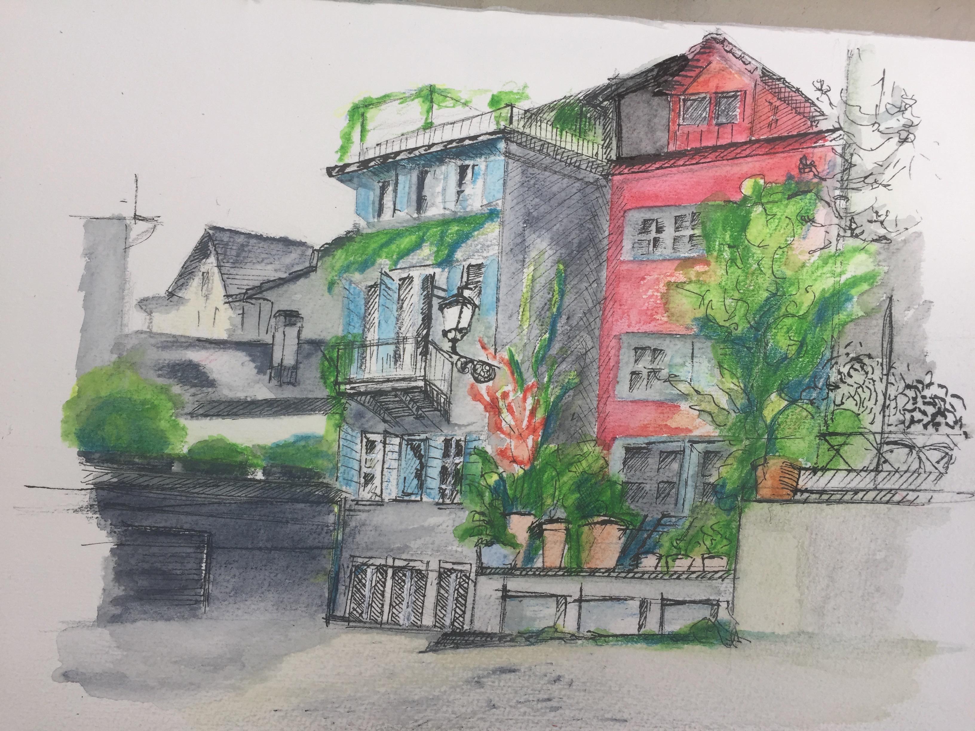 Trittligasse Zürich, Farbstift, Tusche, Astrid Amadeo, Urban Sketching