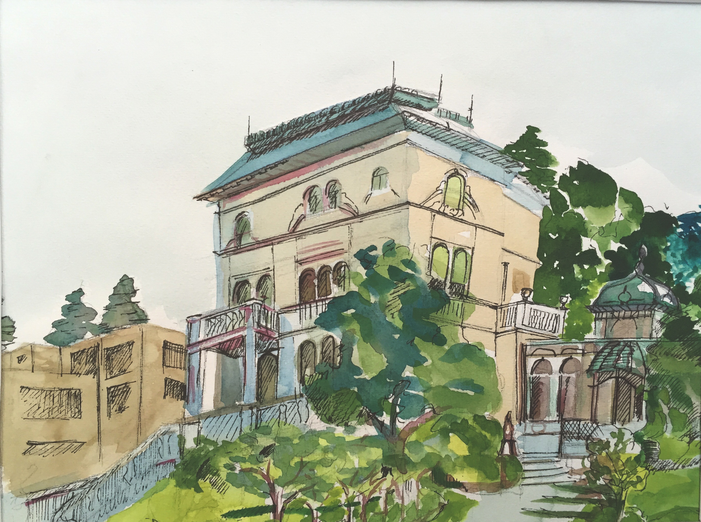 Villa Pathumba, Zürich,Aquarell, Tusche, Astrid Amadeo, Urban Sketching