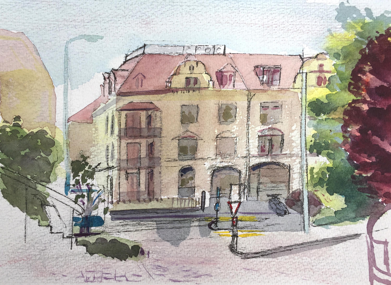 Astrid Amadeo, Röslistrasse_Aquarell_5.5.18_Urban Sketching_Astrid Amadeo_Zeichnen in Zürich