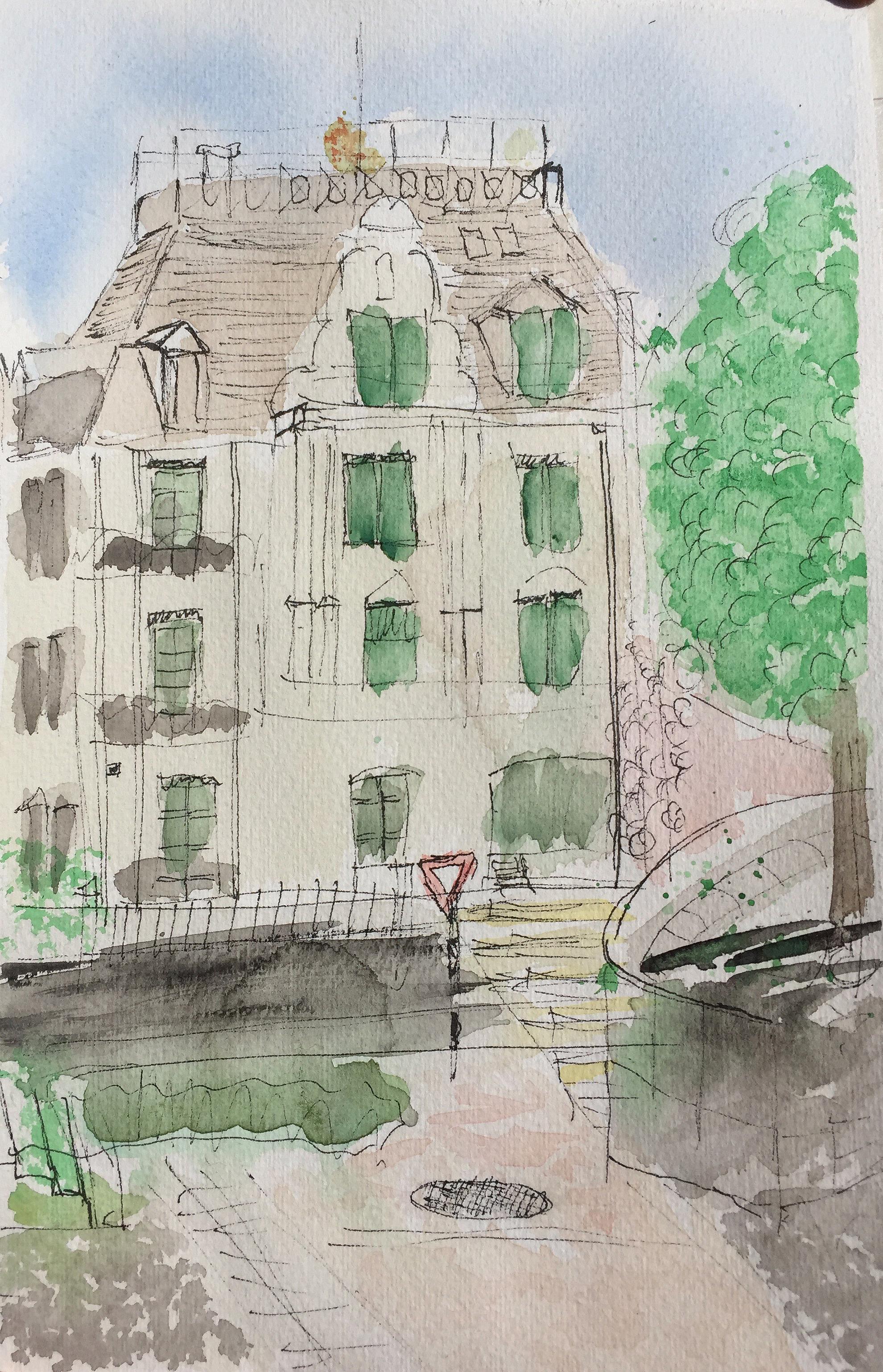 Christine Remy_Röslistrasse_Aquarell_5.5.18_Urban Sketching_Astrid Amadeo_Zeichnen in Zürich