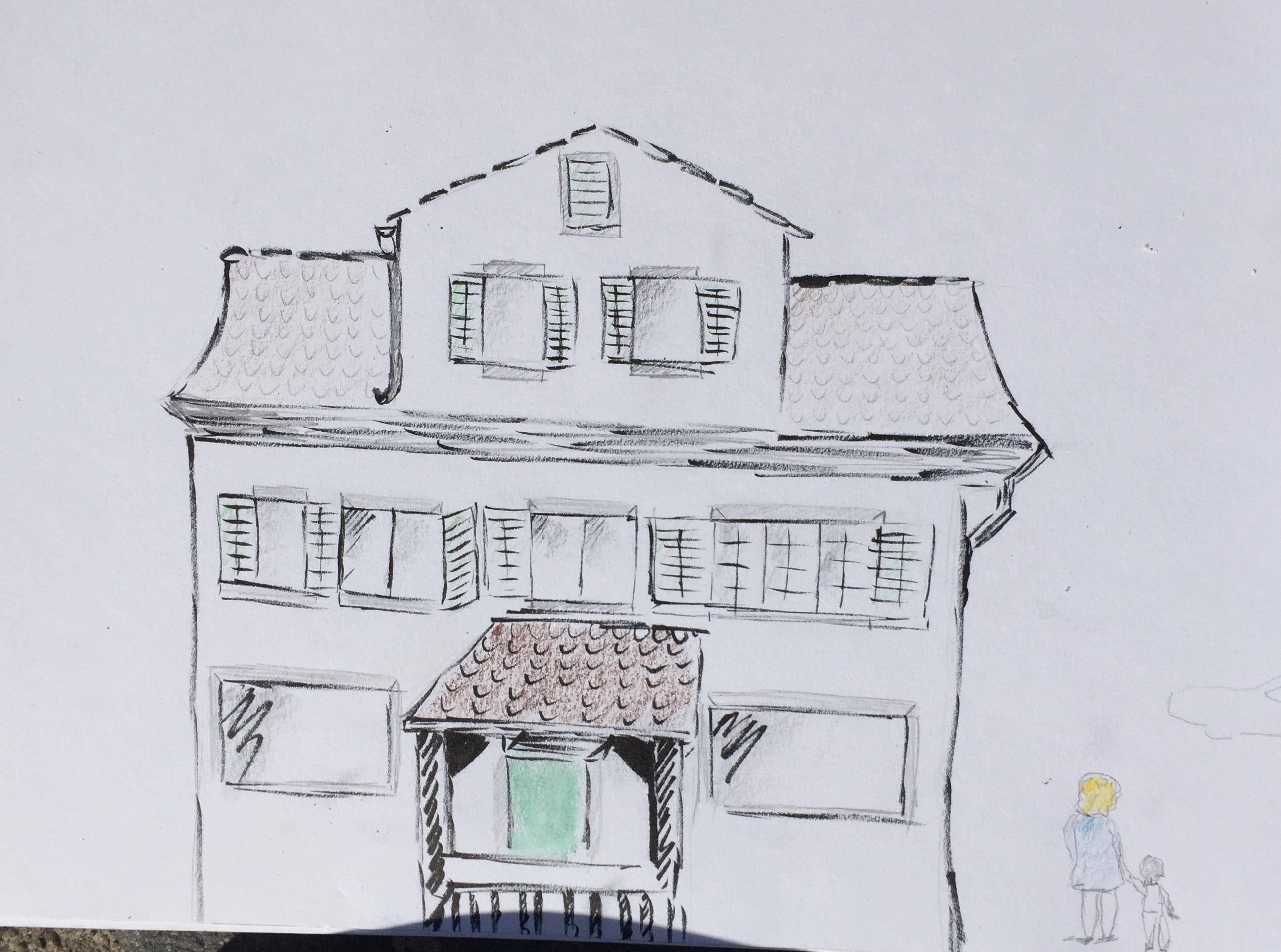 Baschligplatz Hottingen, Zeichnen in Zürich, Astrid Amadeo