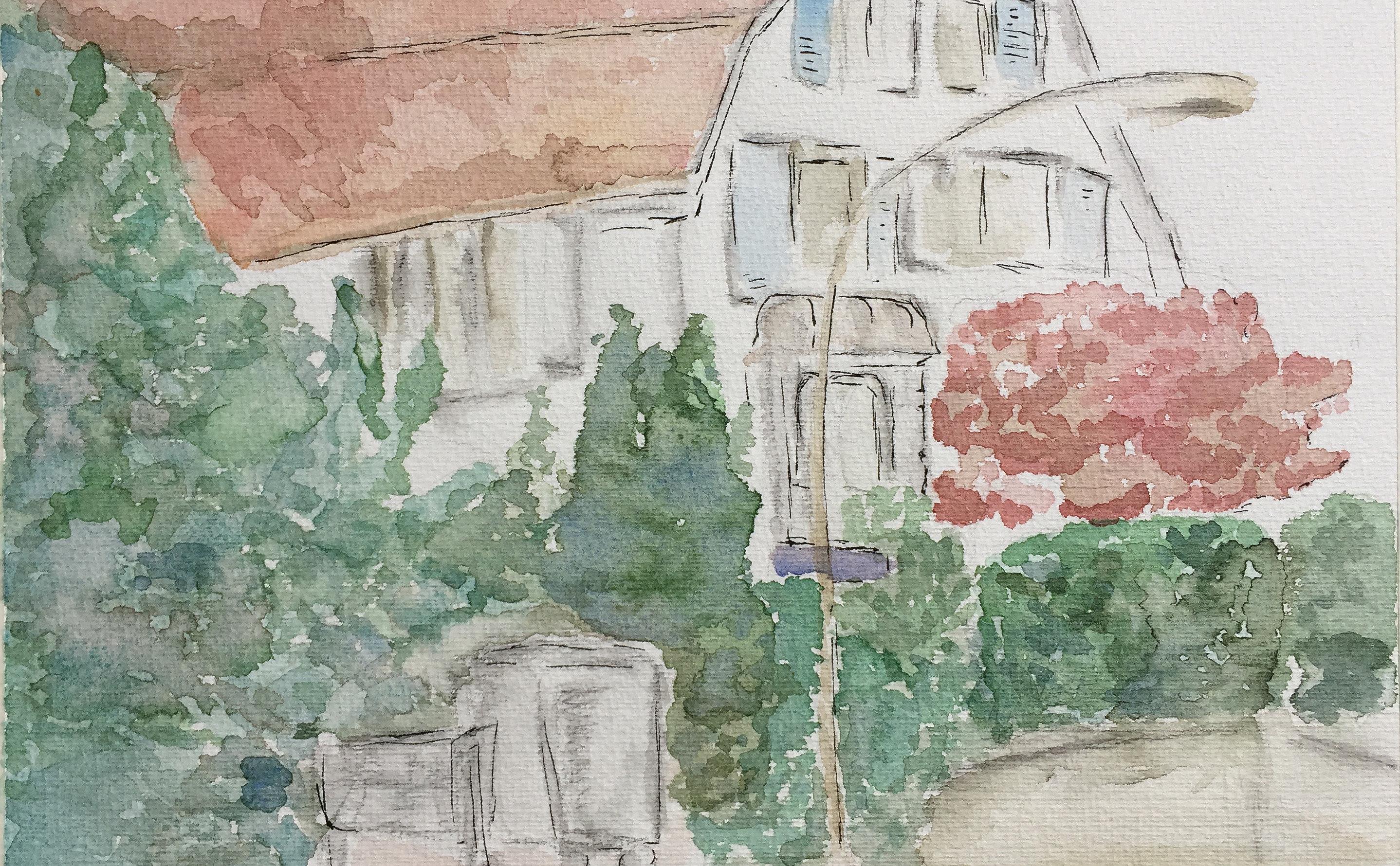 Elke Heinert_Röslistrasse_Aquarell_5.5.18_Urban Sketching_Astrid Amadeo_Zeichnen in Zürich