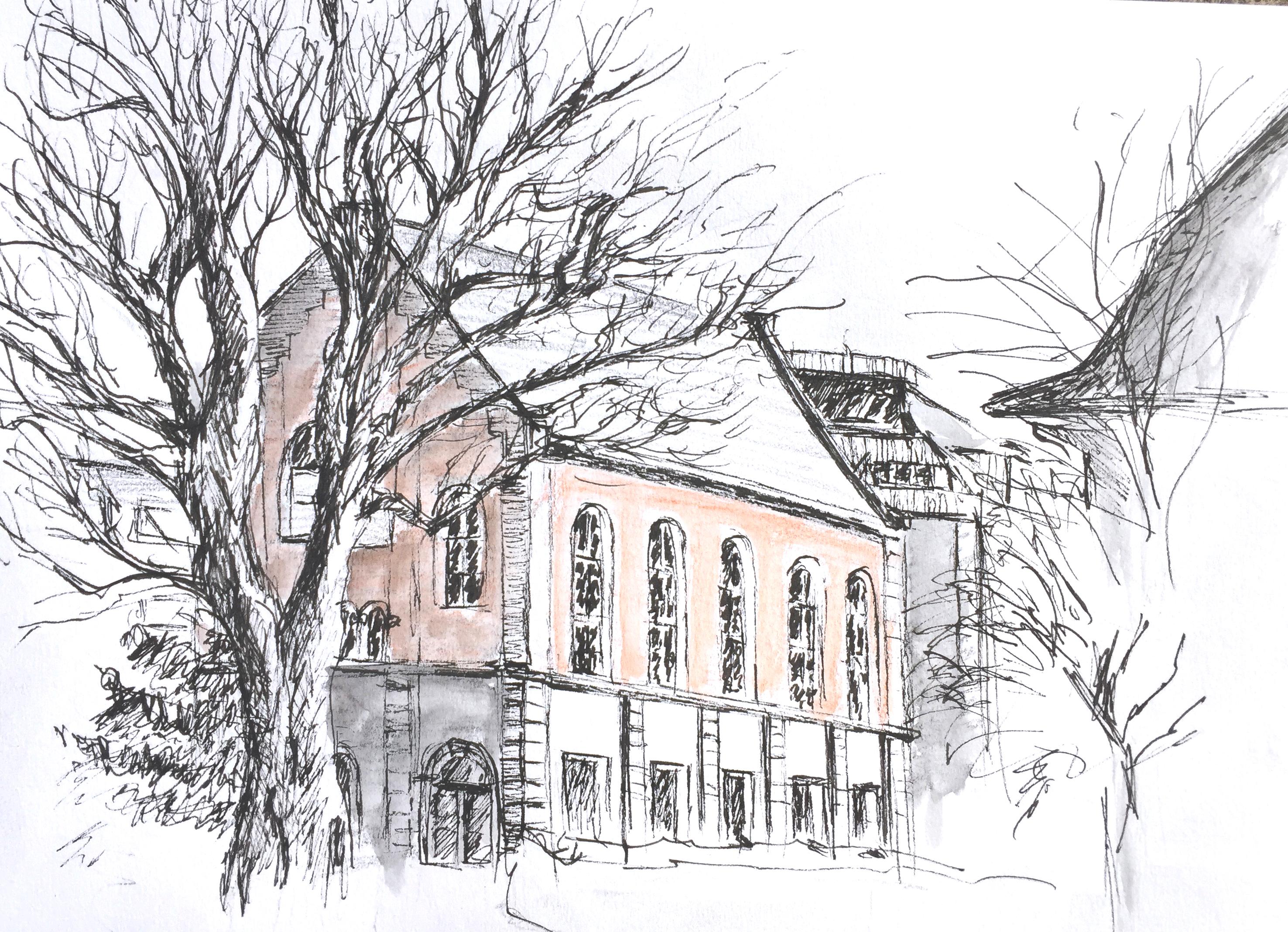 Cäcilienstrasse, Zürich, Urban Sketching,2018, Astrid Schmid Zeichnen in Zürich, Astrid Amadeo