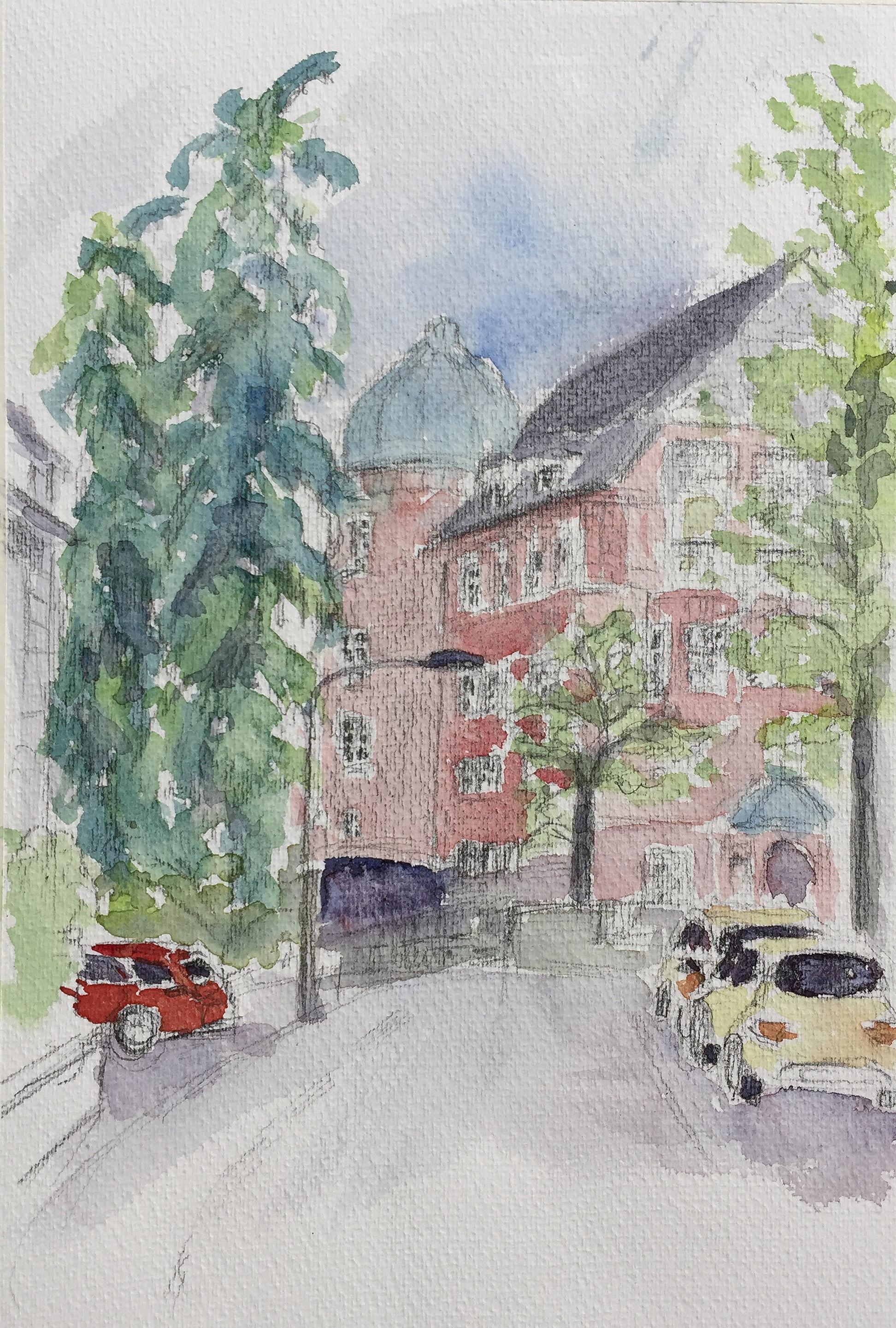 Esthi Birchmeier_Röslistrasse_Aquarell_5.5.18_Urban Sketching_Astrid Amadeo_Zeichnen in Zürich