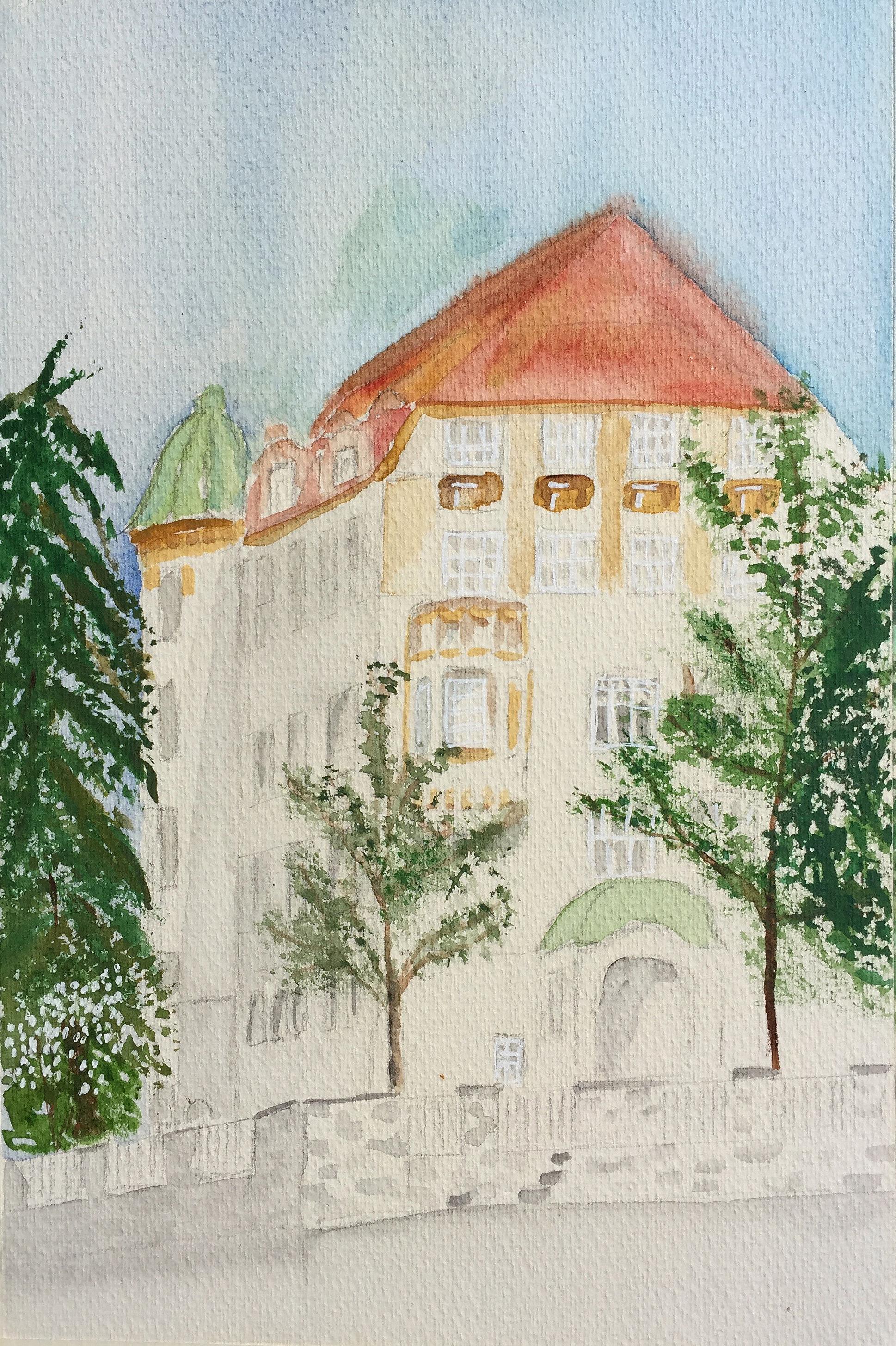 Beatrice Lienert_Aquarell_.Röslistrasse Zürich,urban sketching in Zürich