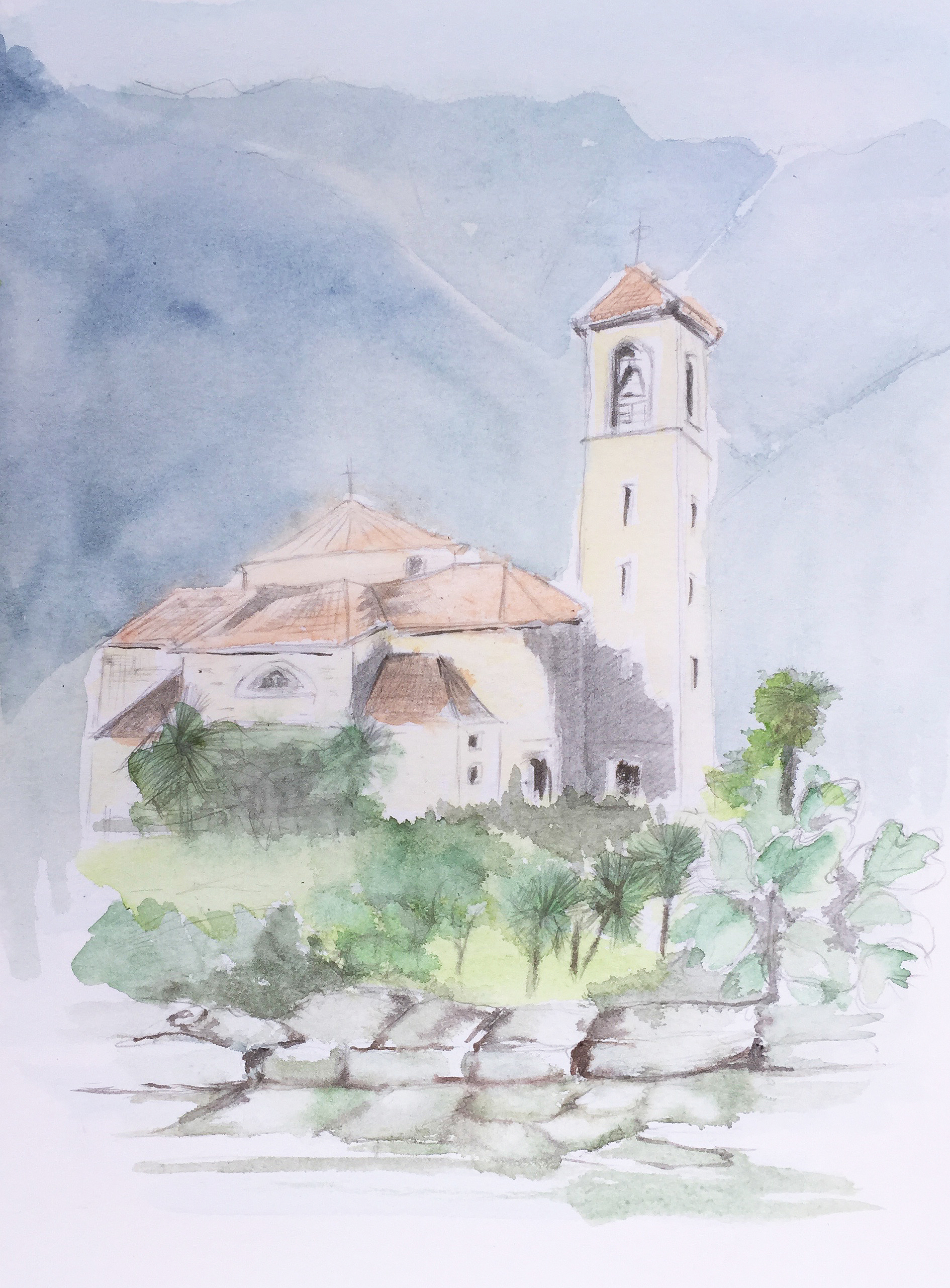 Kirche St Abbondio_Aquarell von Maya Schultze