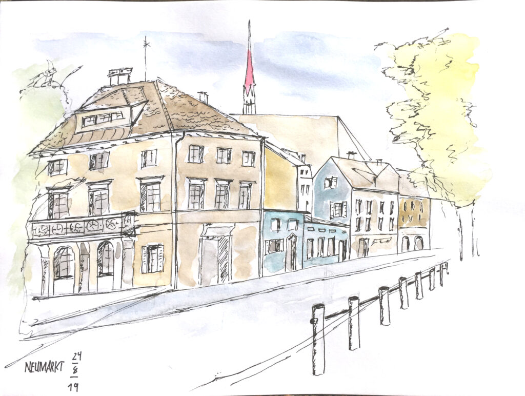 Urban Sketching am Samstag, Astrid Schmid, Astrid Amadeo,Neumarkt, Zeichnungen