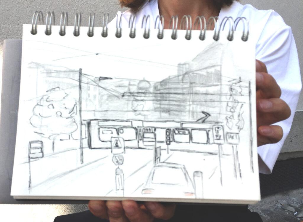 Urban Sketching am Samstag, Astrid Schmid, Astrid Amadeo,Kunsthausplatz,Zeichnungen