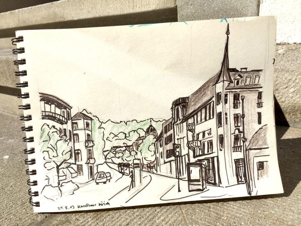 Urban Sketching am Samstag, Astrid Schmid, Astrid AmadeoKunsthausplatz, Zeichnungen