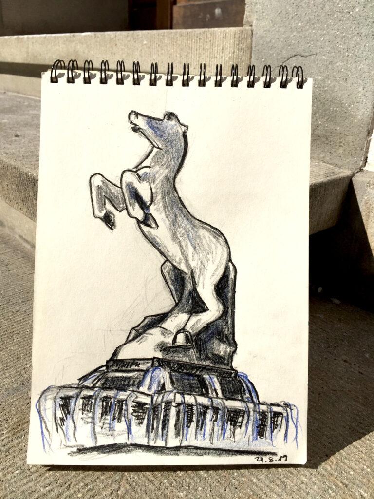 Urban Sketching am Samstag, Astrid Schmid, Astrid Amadeo,Roesslibrunnen, Zeichnungen