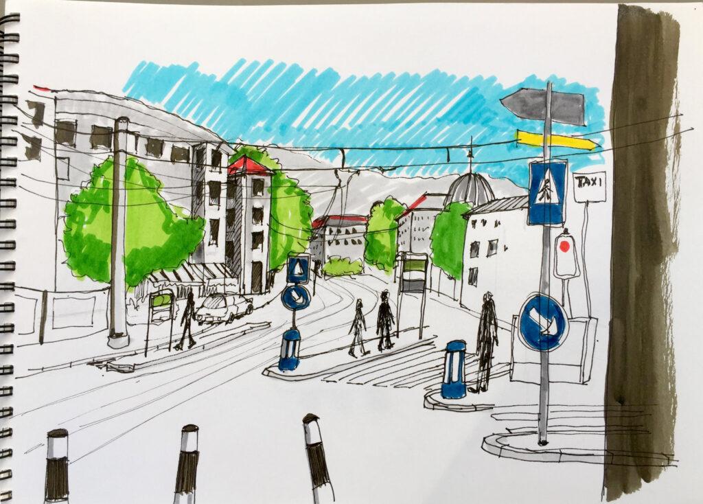 Zurich, Urban Sketching am Samstag, Astrid Schmid, Astrid Amadeo,Kunsthausplatz, Zeichnungen