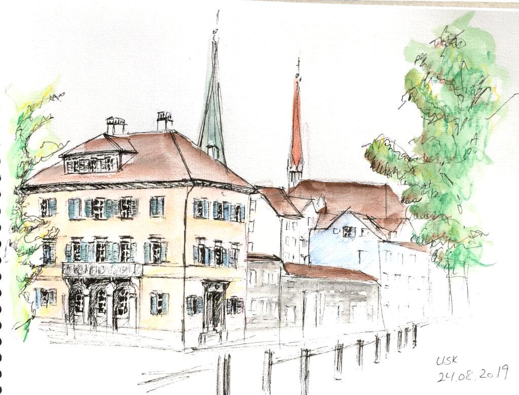 Zurich, Urban Sketching am Samstag, Astrid Schmid, Astrid Amadeo,Neumarkt, Zeichnungen