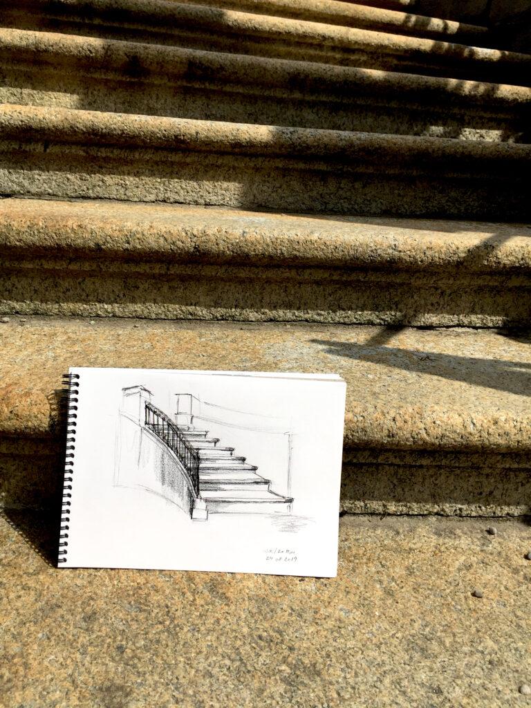 Urban Sketching am Samstag, Astrid Schmid, Astrid Amadeo, Rechbergpark, Zeichnungen